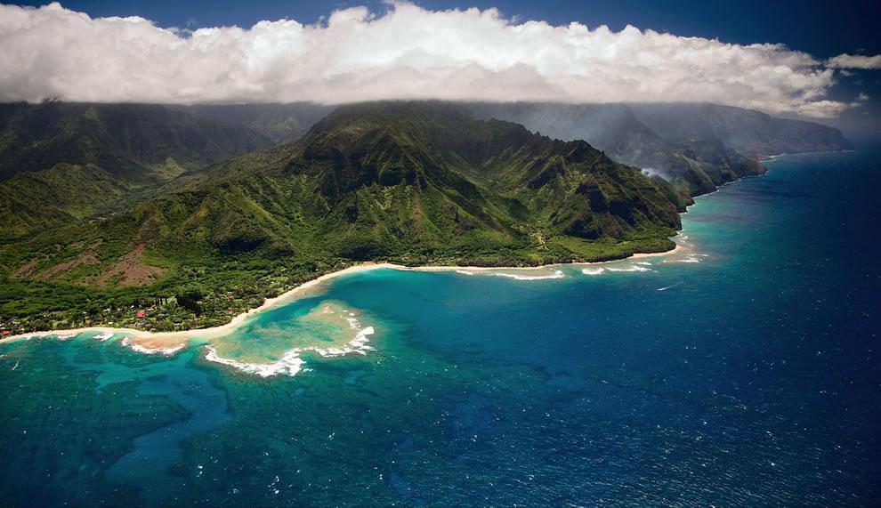 fire on the na pali coast kauai hawaii