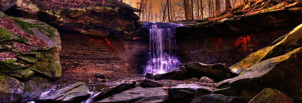 Blue Hen Falls Waterfall Panorama