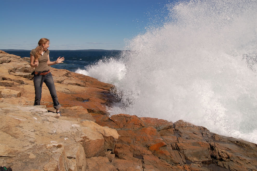 Catching a wave...or getting cought by one In Acadia National Park on 'Ocean Drive' near Thunder Hole