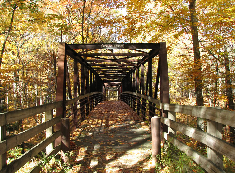 Hemlock Bridge, one of three lovely bridges on the Old Carriage Trail at CVNP