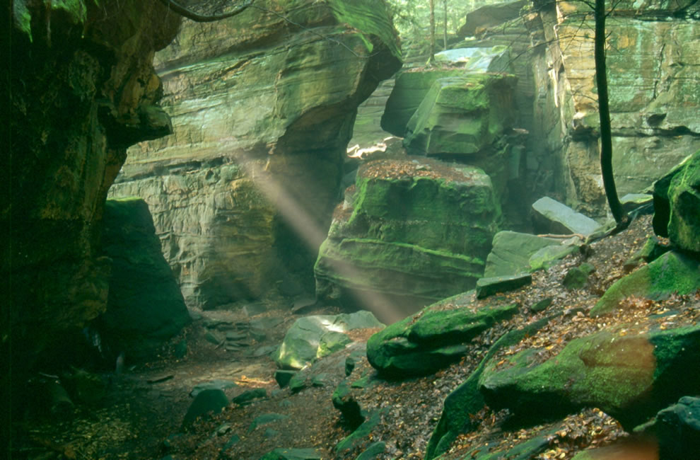 Rays of sunlight at Ledges -- Cuyahoga Valley National Park