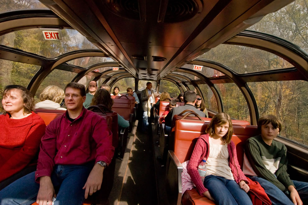 Riding through CVNP -- Passengers Ride in the Dome Car