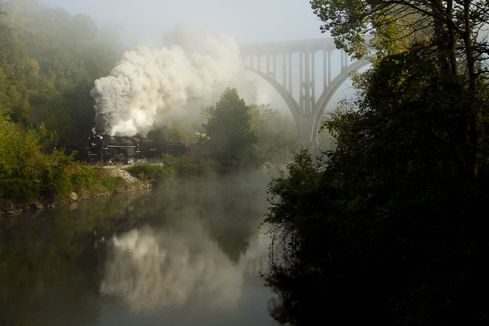 Steam -- Nickel Plate 765 runs on the Cuyahoga Valley Scenic in the morning fog
