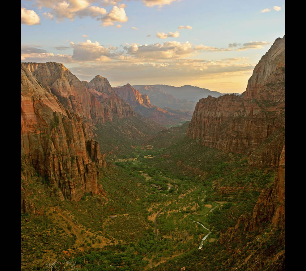 Canyon at sunset in Zion National Park as seen from Angels Landing looking south