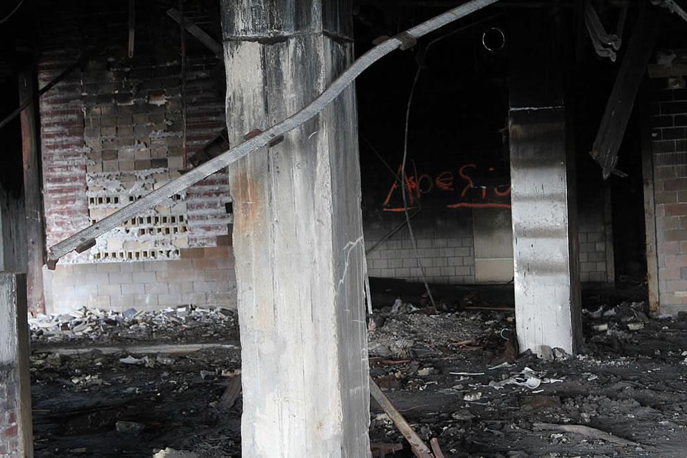 Asbestos - smelled horrible down here, like burned building and ewww at abandoned demolished Emge Foods