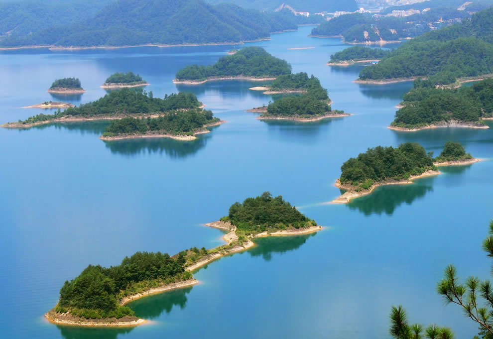 Chain of islands in man-made Qiandao Lake, China