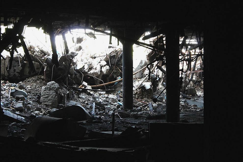 Darkness burnt at abandoned demolished Emge Foods