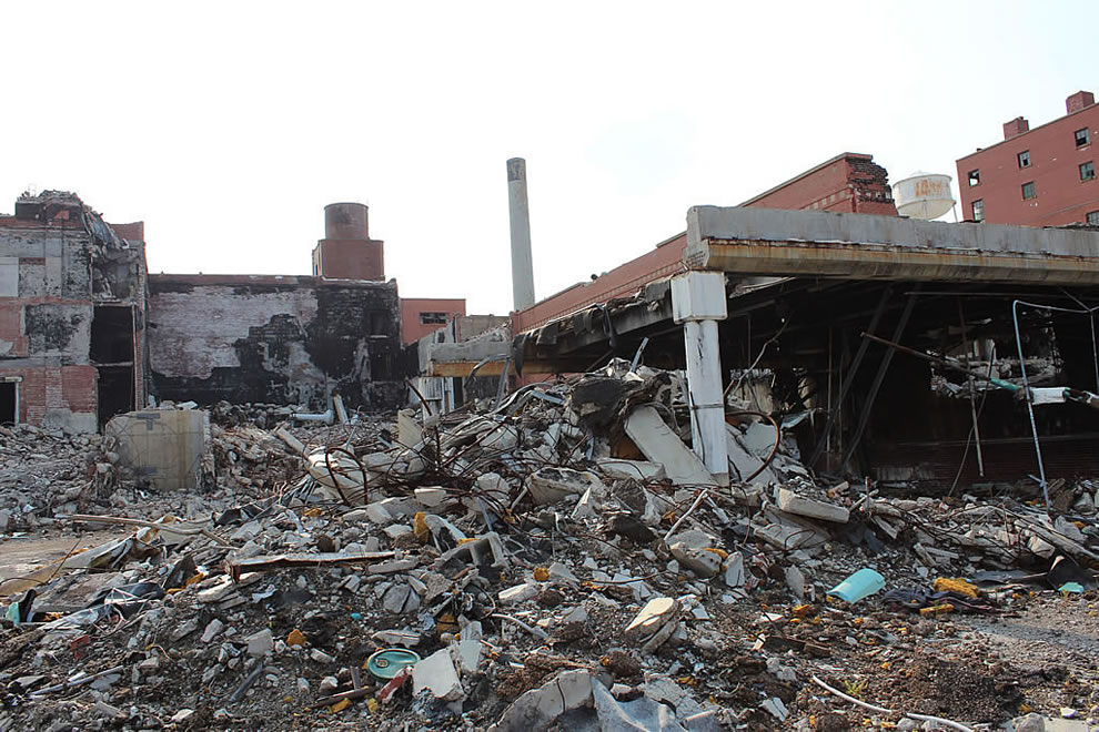 Front on left at abandoned demolished Emge Foods