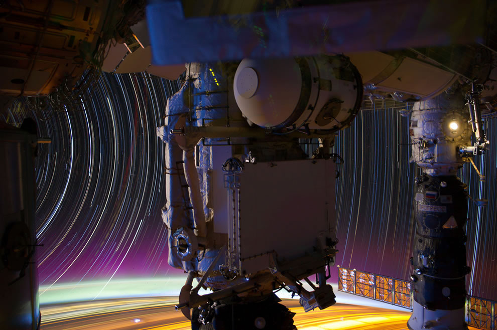 ISS and star trails as seen from ISS