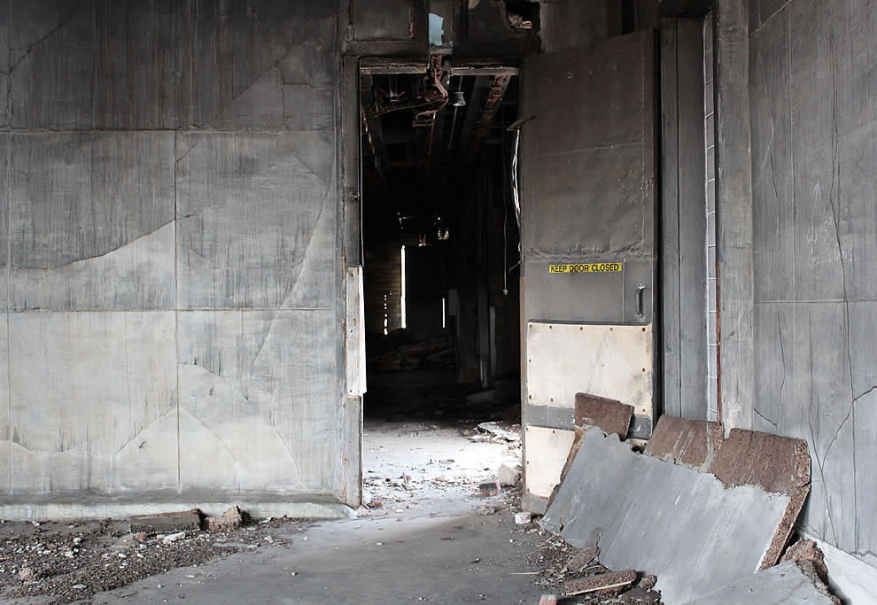 Keep door closed at abandoned Emge Food Processing Plant