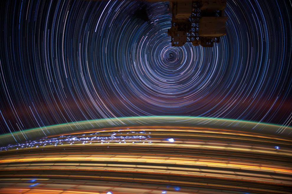 Long exposure star trails from ISS