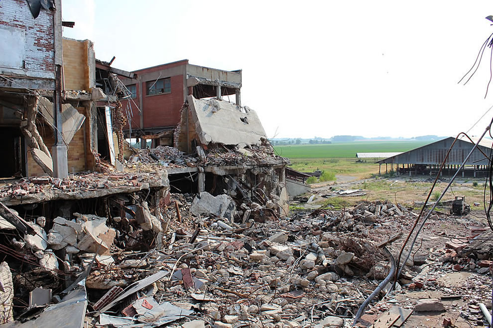 Looking where I stood at abandoned demolished Emge Foods
