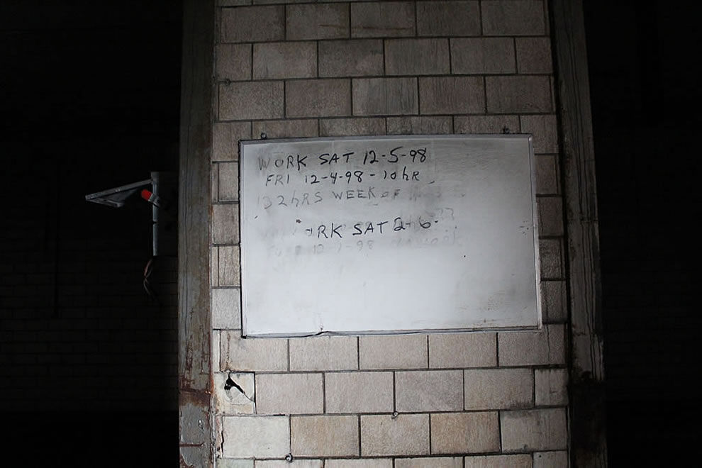 Slaughterhouse work hour schedule at abandoned defunct Emge Foods