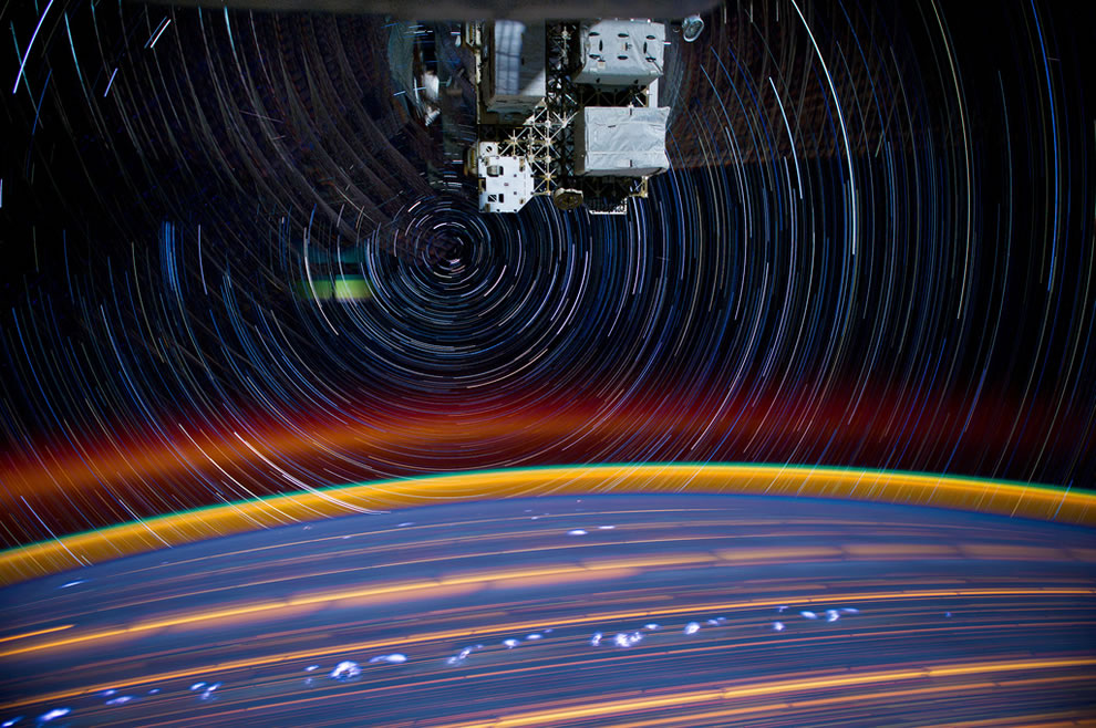 Spectacular star trails swirls as captured by ISS Astronaut & Expedition 31 Flight Engineer Don Pettit