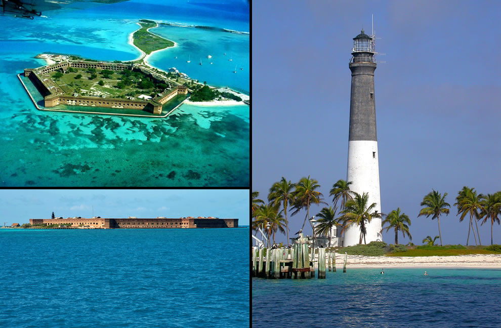 Aerial, by sea and Light House at Dry Tortugas