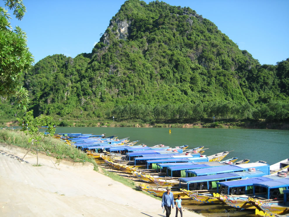 Boats for tourists in Phong Nha-Ke Bang, Vietnam