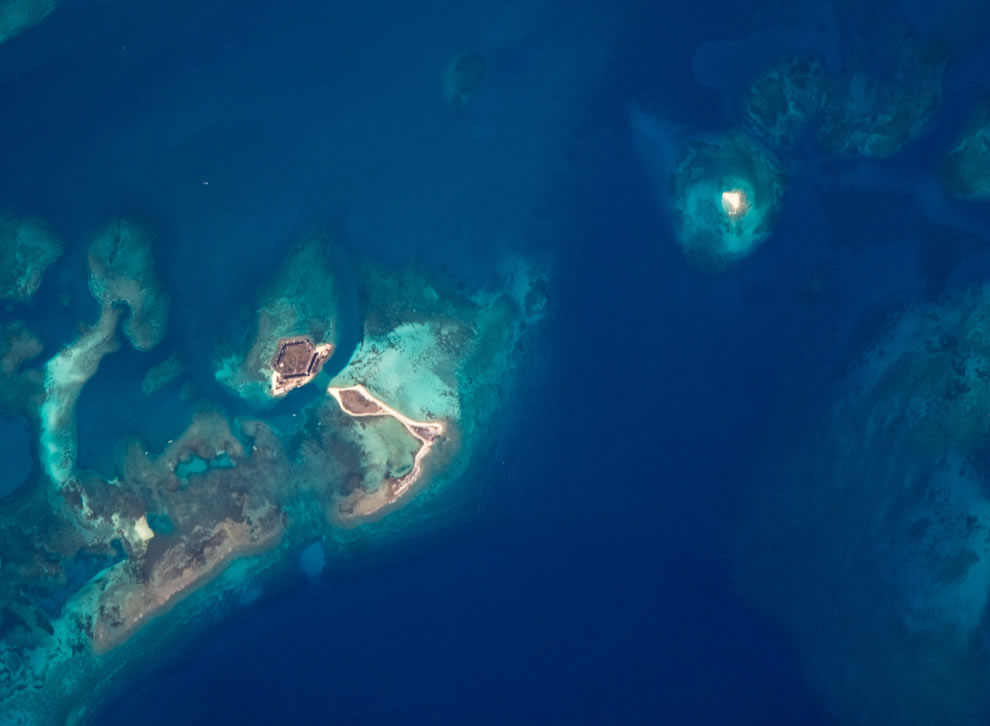 Bush Key, Hospital Key, and Garden Key, which is the site of Fort Jefferson from ISS