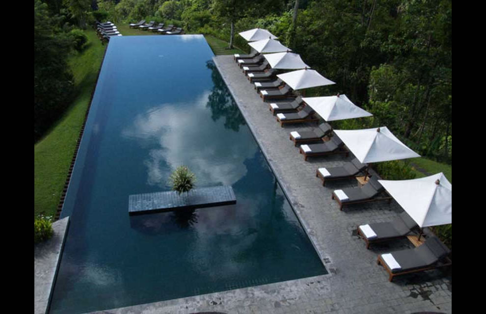 Dreaming at infinity pool on edge of jungle