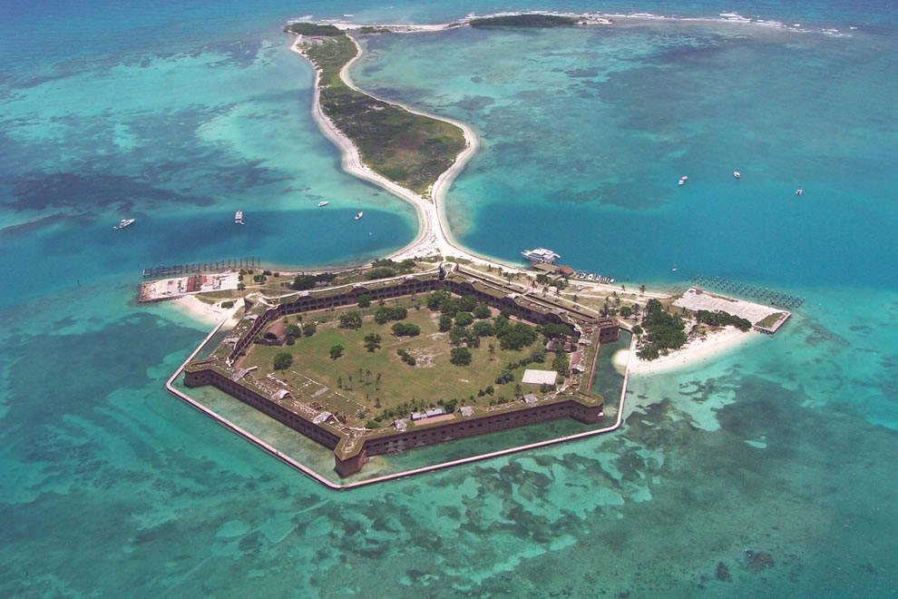 Fort Jefferson aerial looking east
