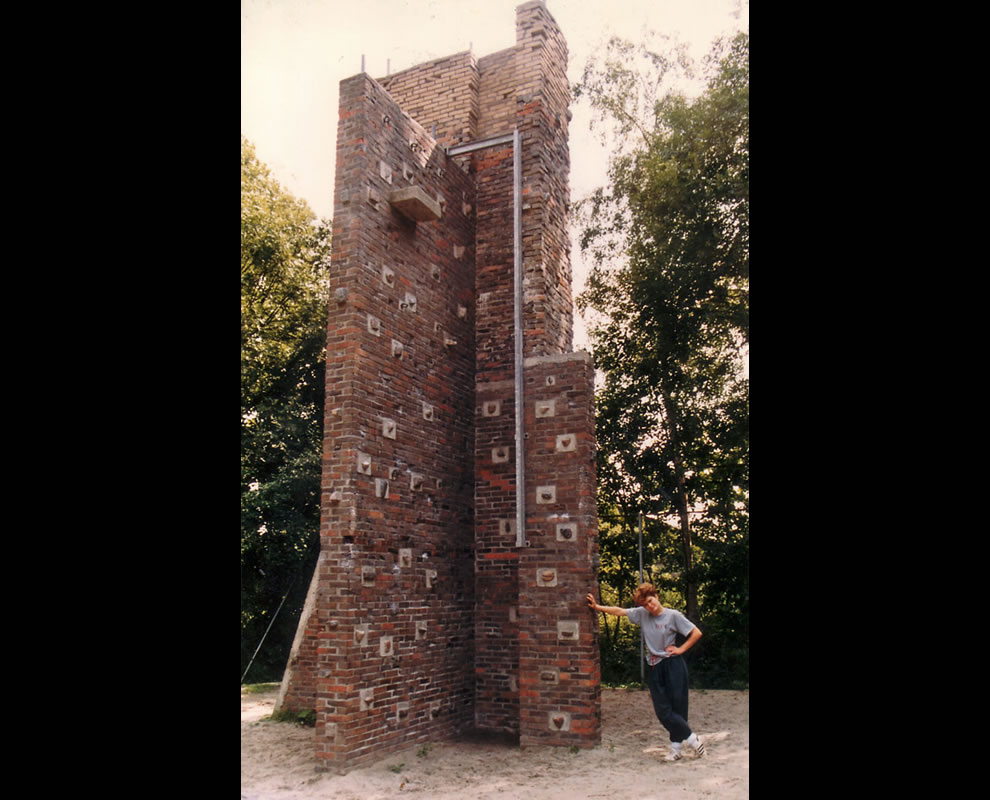 Henriette Louwerse at the Groningen (NL) outdoor wall in 1986
