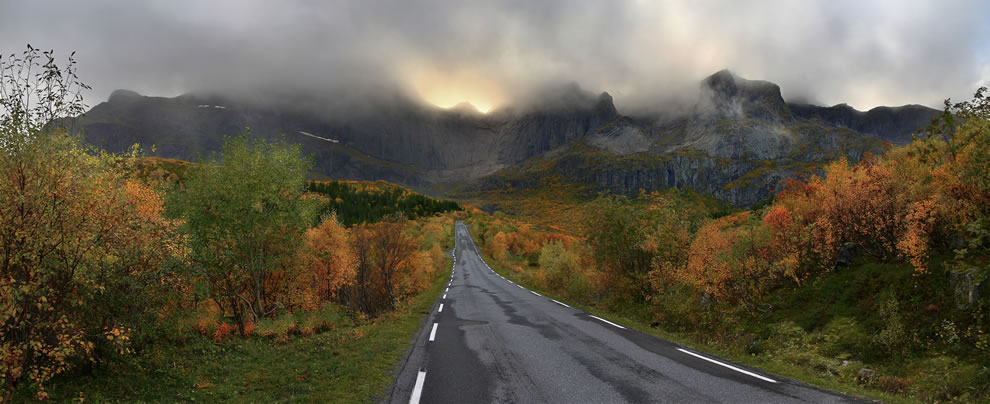A mountain massif of Flakstadøya island backgrounding the road (Fylkesvei 807) to Nusfjord village, Lofoten, Nordland, Norway