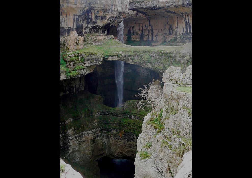 Beautiful Baatara gorge waterall in the Tannourin mountains of Lebanon