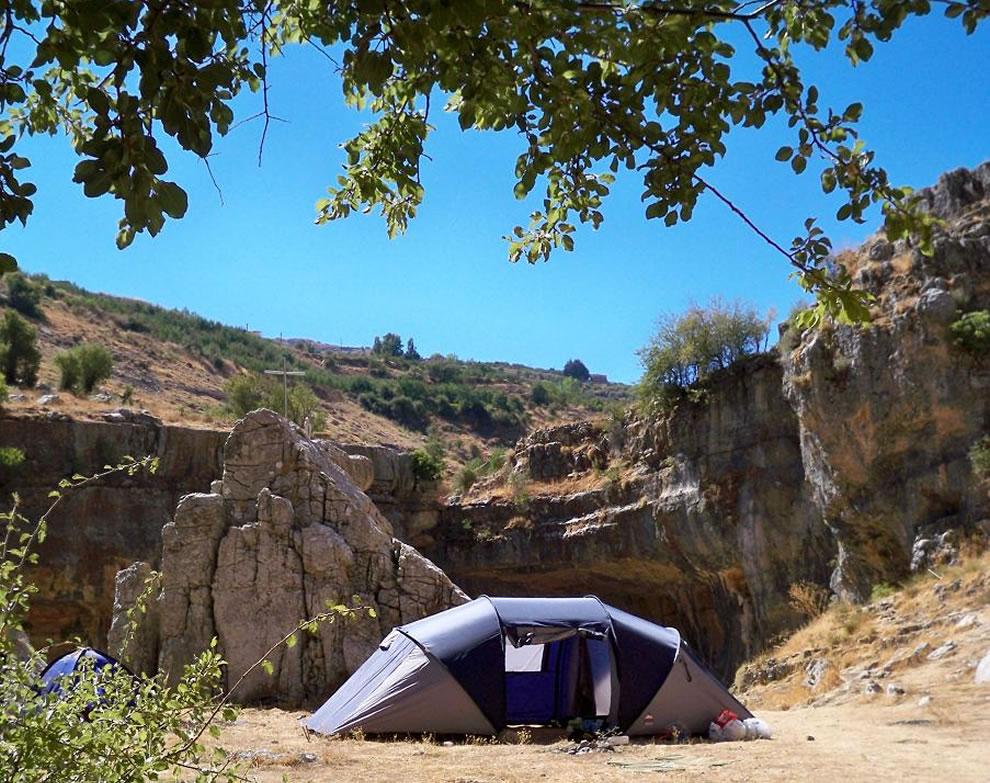 Camping at Baatara gorge waterfall in Tannourine, Lebanon