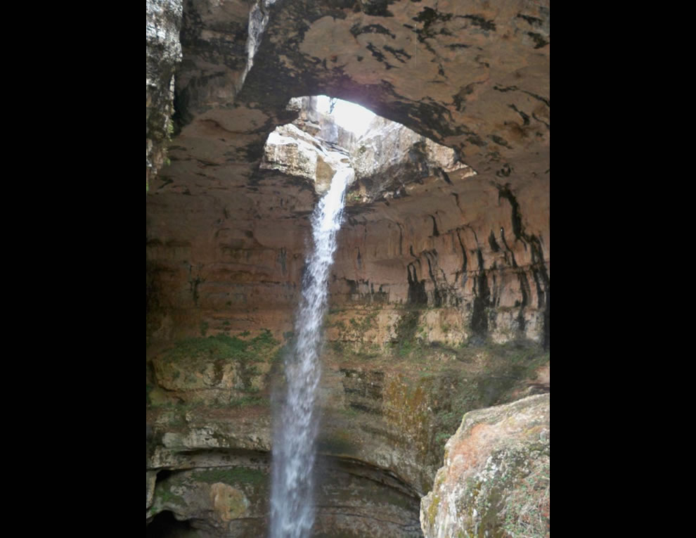 Looking up at Baatara gorge waterfall