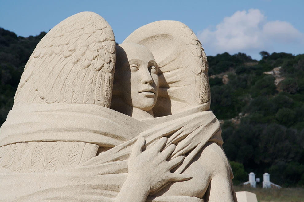 Sand Sculpture Angel on a beach in Menorca