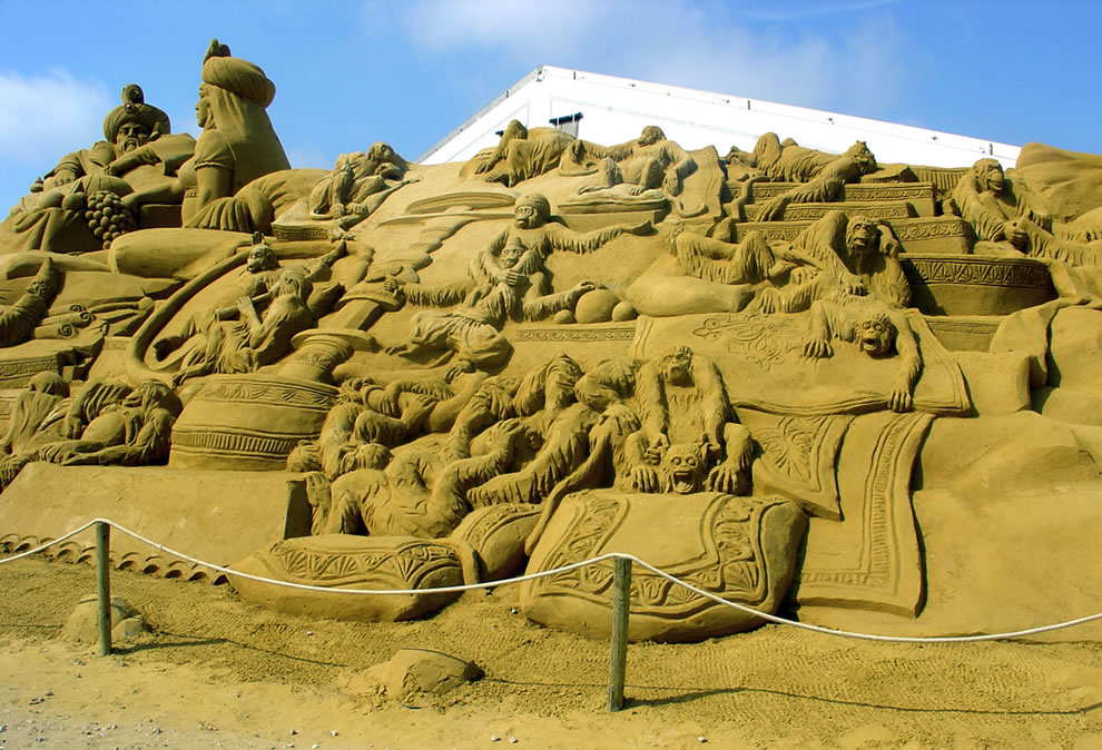 Sand monkey sculptures in Blankenberge, Belgium