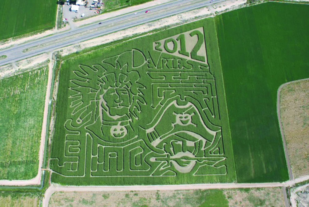 Aerial of DeVries Fruit & Vegetable Farm's Corn Maze can get lost among six miles of trails in a 20-acre corn maze