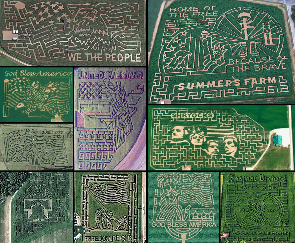 Aerial photos of USA Patriotic corn mazes