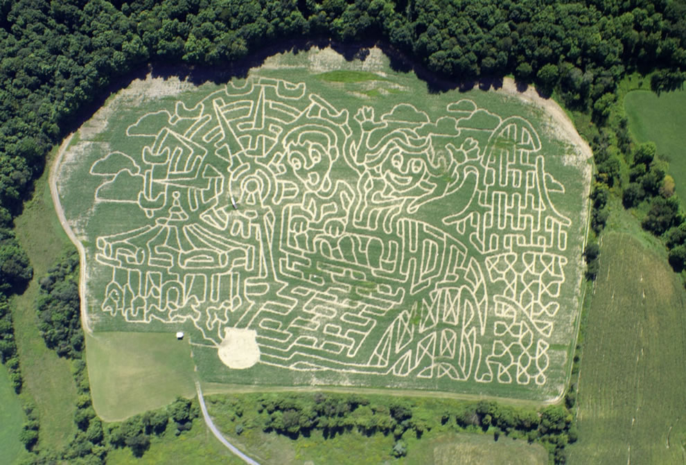 Aerial view of 22 acre amusement park theme corn maze