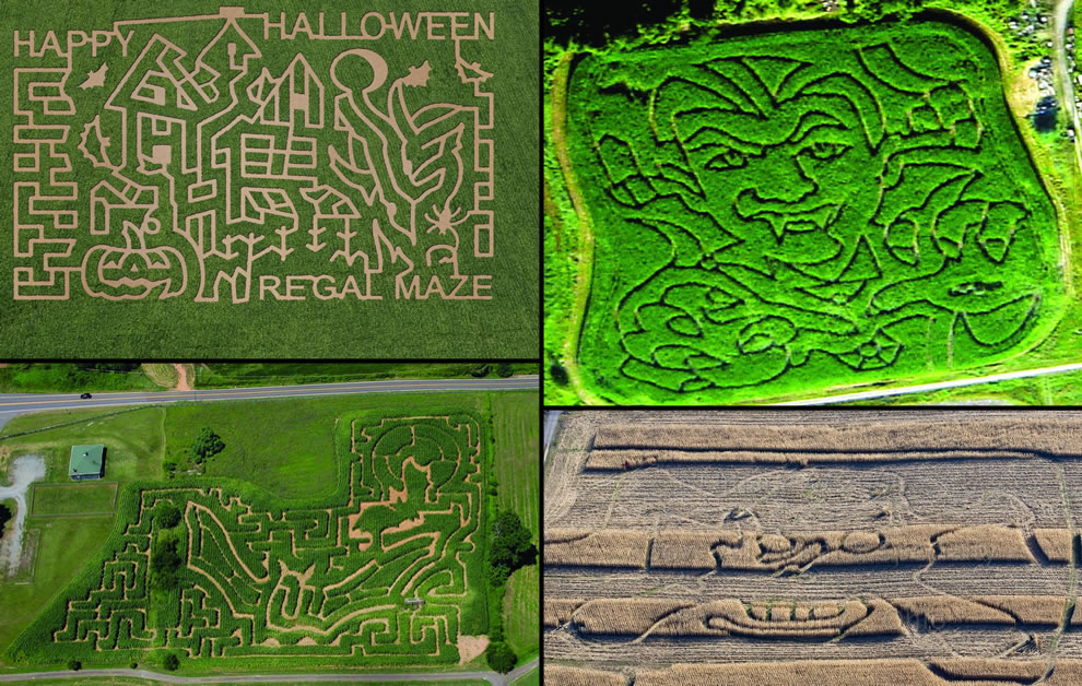 Aerials of Halloween-themed corn mazes
