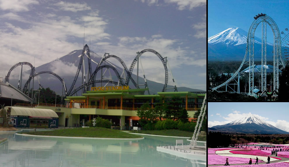 Mount Fuji, roller coasters, ferris wheel, pink flower carpet and fun