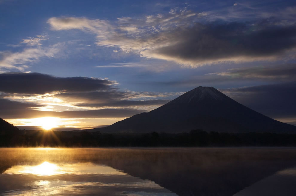 Mt. Fuji and Lake Shojiko at sunrise