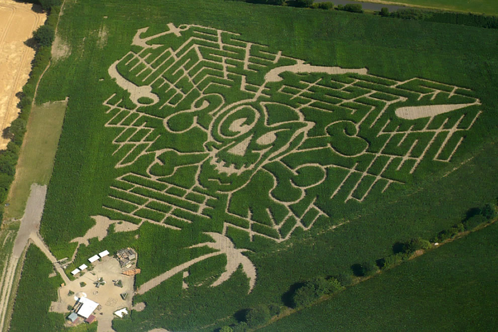 Pirate-themed corn labyrinth in Delingsdorf