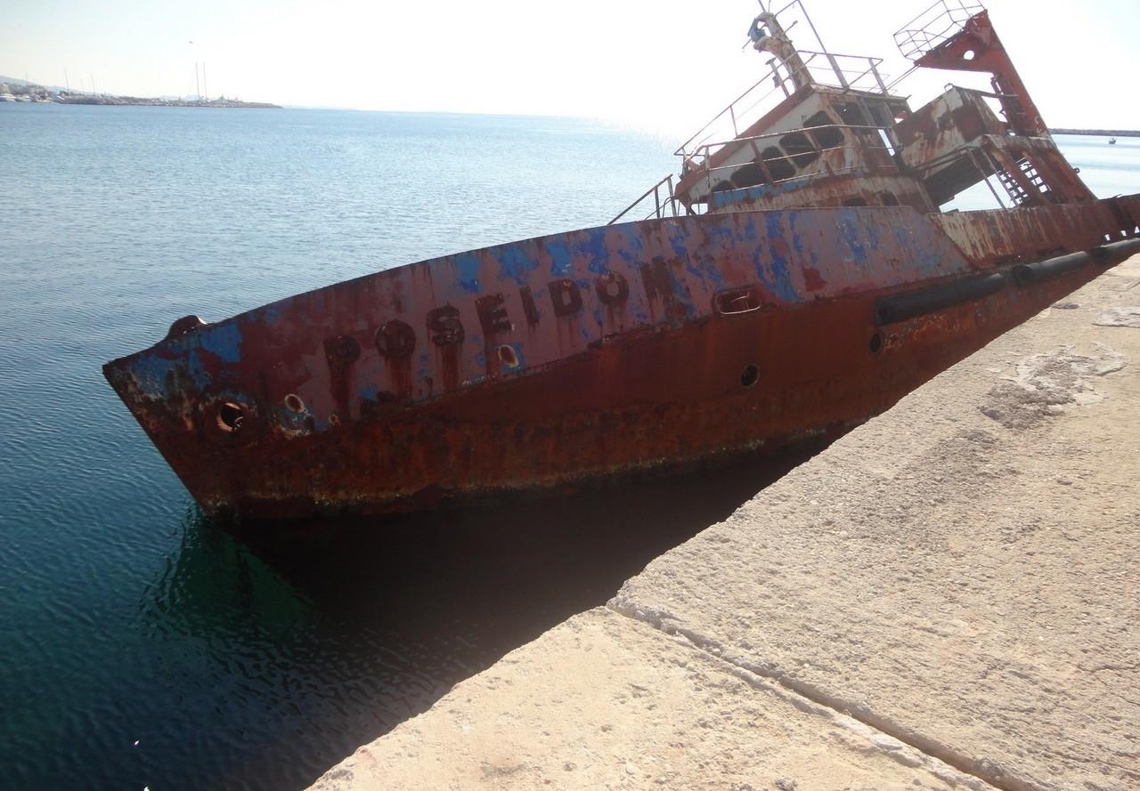 Poseidon, a research (survey) Vessel built in 1944 in UK. Shipwrecked at Phaleron Bay, Piraeus, Greece