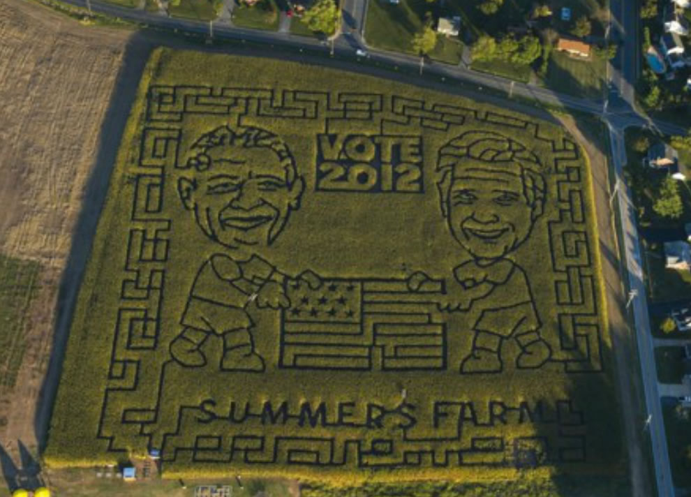 Post photographer Ricky Carioti provides a bird's-eye view of Frederick and Middletown, which includes a corn maze featuring President Obama and Mitt Romney