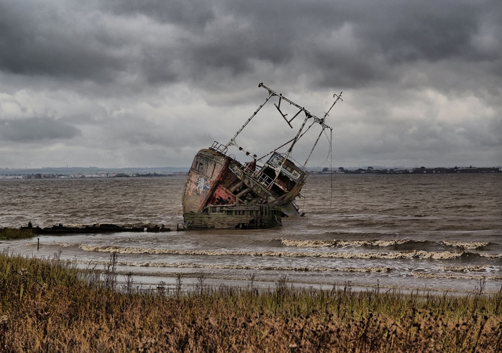 Shipweck graveyard, this wreck sitting on the remains of another wreck