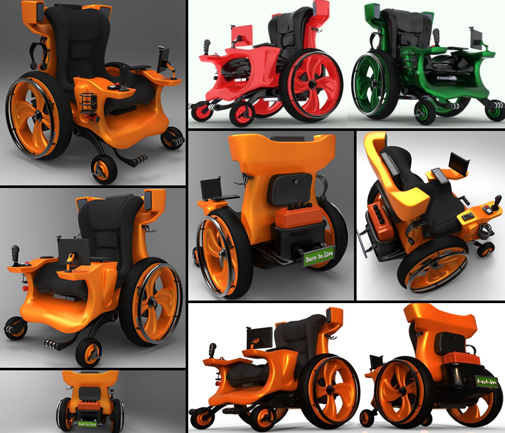 Uber cool geeky, gamer, fun design concept wheelchair by designer Mauricio Maeda wheelchair design concepts