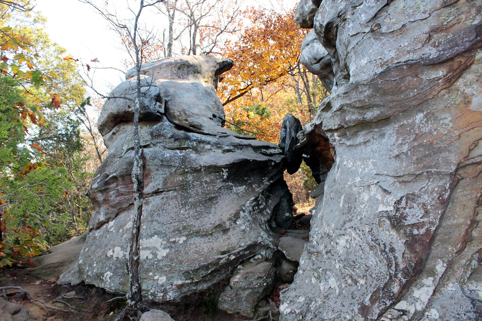 Below massive rock formation at Garden of the Gods