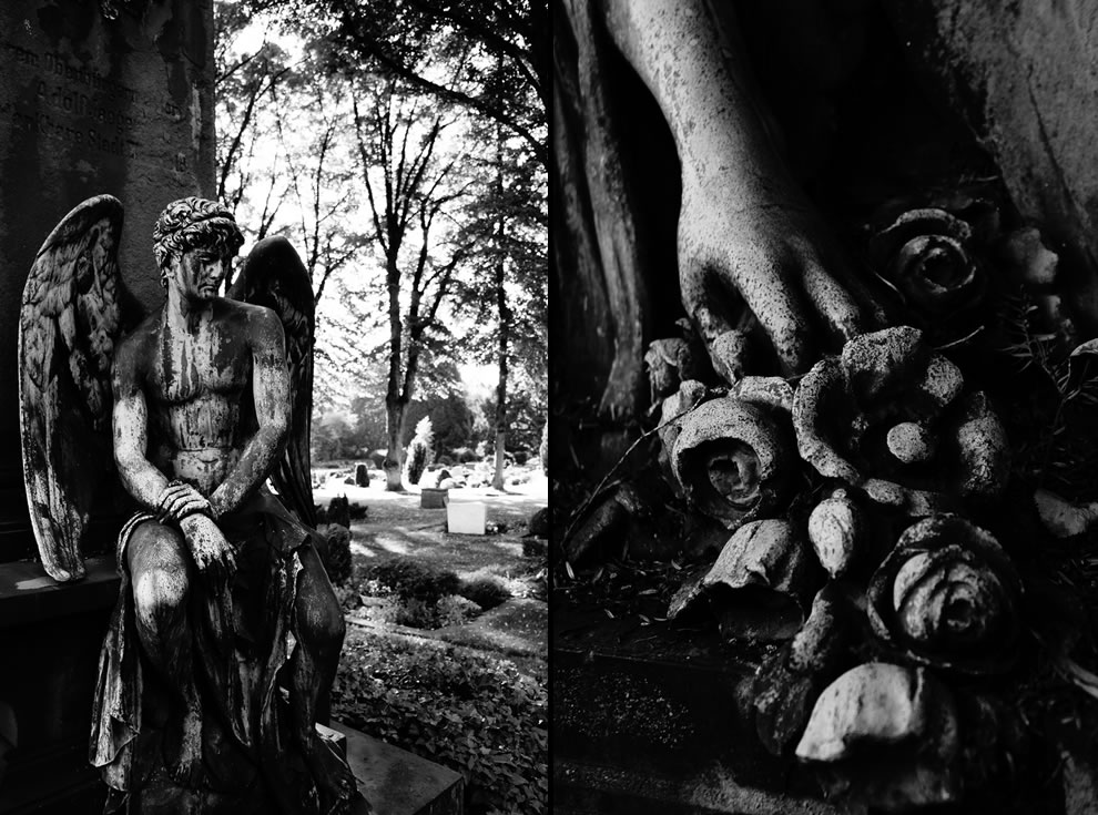Black and white misery at Wuppertal, NRW, Germany cemetery