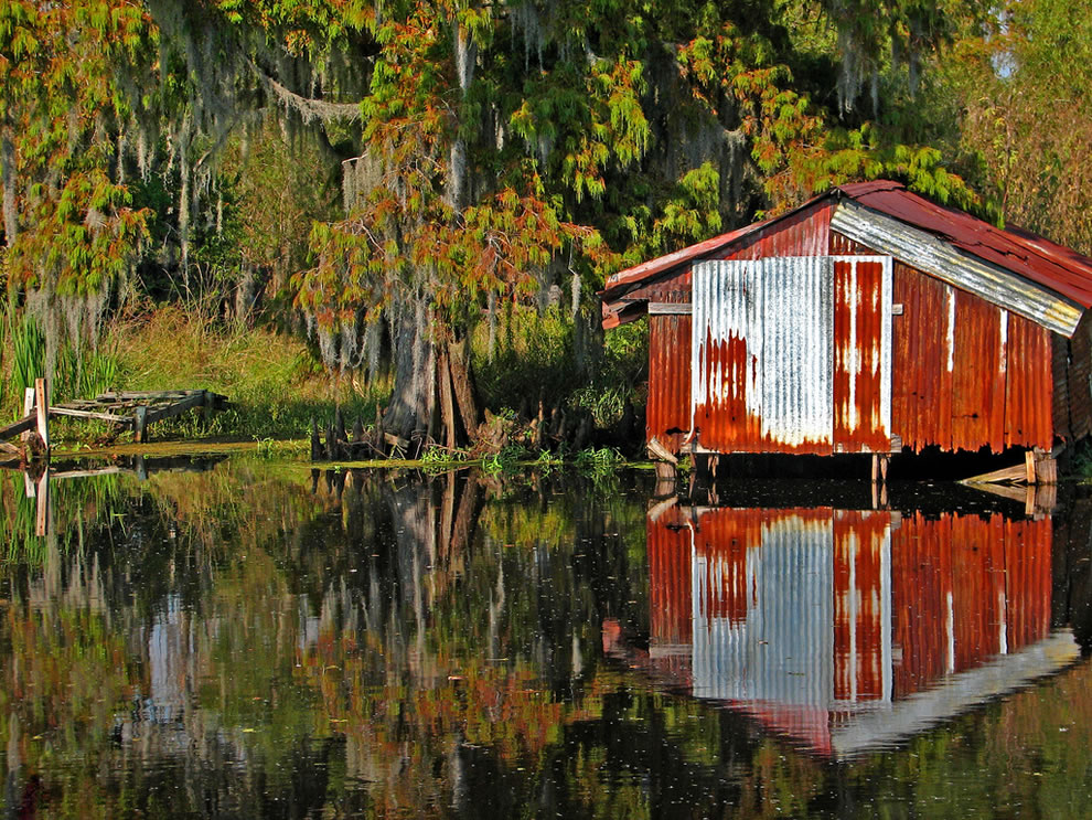 Boat house and Spanish moss in New Orleans bayou