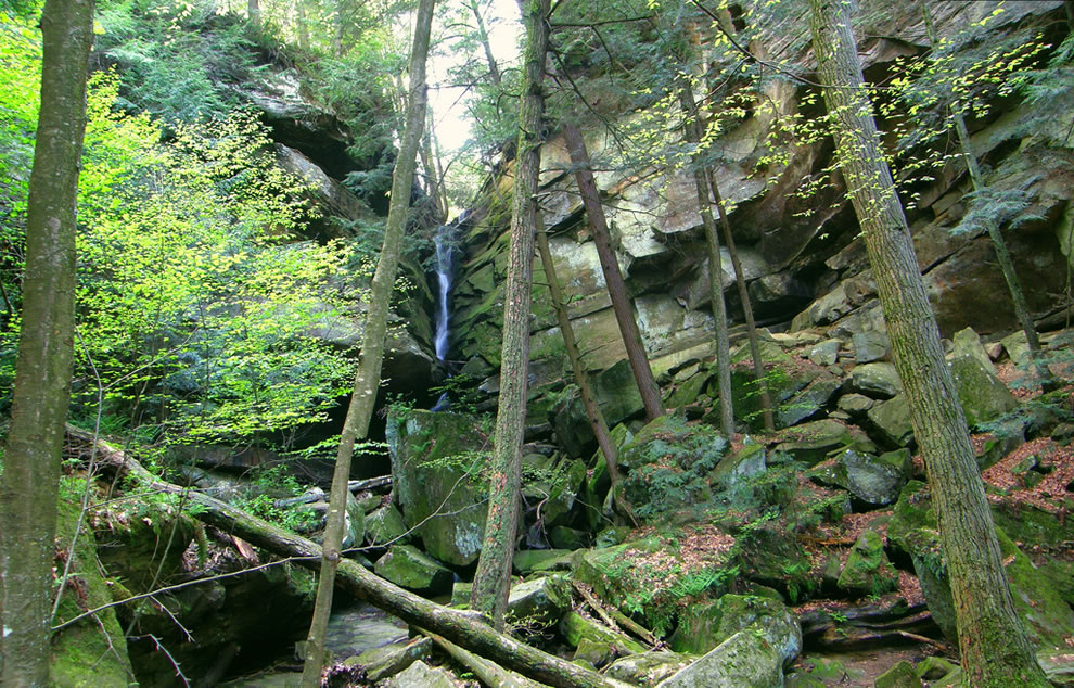 Broken Rocks Falls area, which is south of the Lower Falls at Hocking Hills