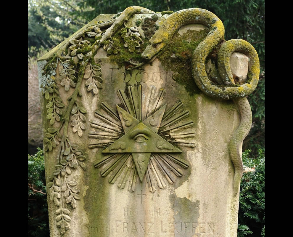 Detail of a grave at the Melaten Cemetery Cologne -- Dr. Leuffen