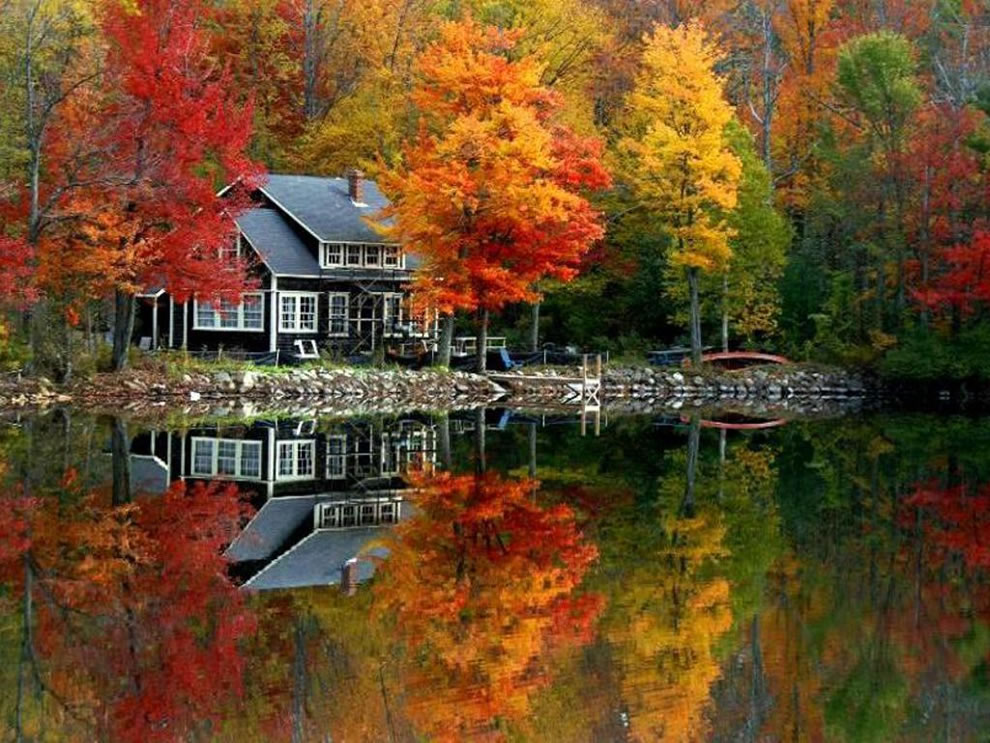 Fall scene at lake house