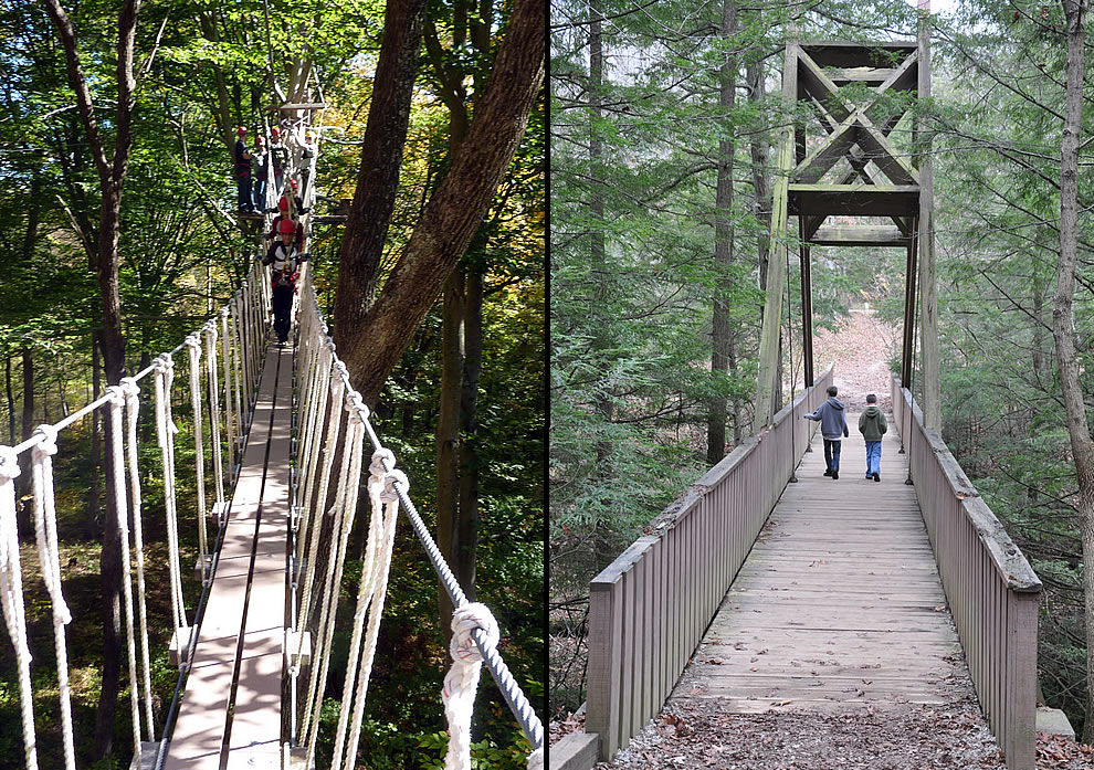 Hocking Hills bridges, Rope bridge for zipline and brothers on a wooden A-frame bridge