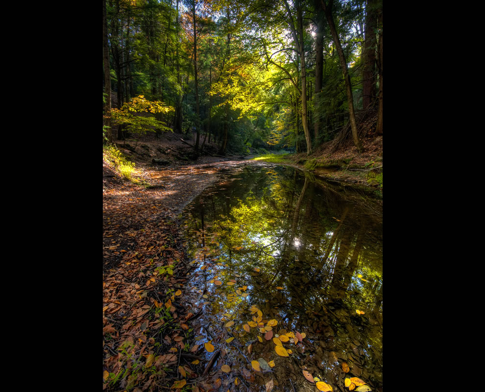 Late sun reflections at Hocking Hills
