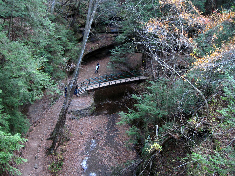 Looking down at Cedar Falls Bridge, Hocking Hills State Park, Ohio